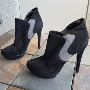 Matte black and gray BAKERS suede booties
